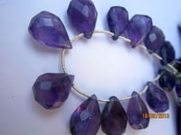 11 PCS. AFRICAN AMETHYST 11X14MM TO 10X13MM FACETED ALMOND BRIOLETTES BEADS