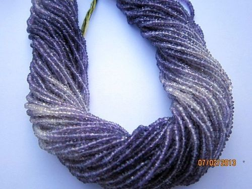 13 INCH AMETHYST SHADED 2.5MM- 3MM MACHINE CUT FACETED ROUNDELL BEADS GEMSTONE