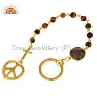 Tiger Eye Stone Sterling Silver Labradorite Gold Vermeil Bracelet