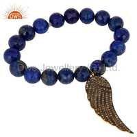 Lapis Lazuli Pave Diamond 18k Gold On Sterling Silver Wing Charm Bracelet