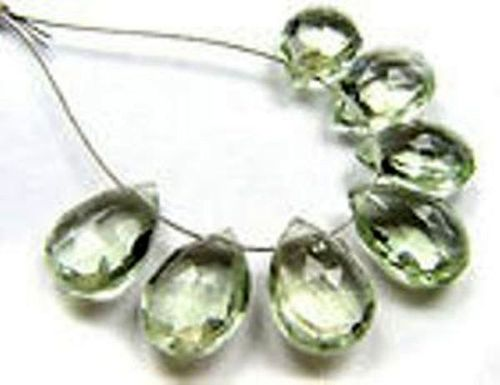 7 PCS.Green Amethyst Long Almond Faceted Pear Gemstone Bead