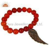 Red Onyx Beads Silver Diamond Bracelets