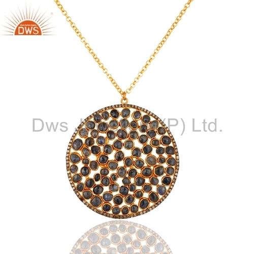 Pave Diamond Sterling Silver Blue Sapphire Pendant