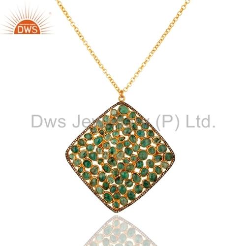 18K Gold On Sterling Silver Emerald Diamond Pave Pendant