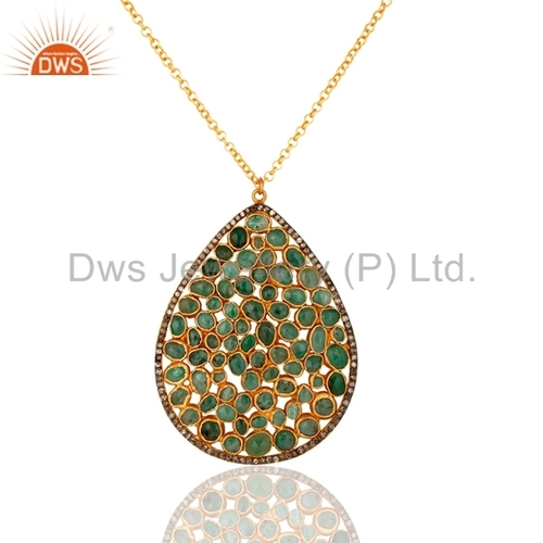 Diamond Pave Sterling Silver Emerald Pendant