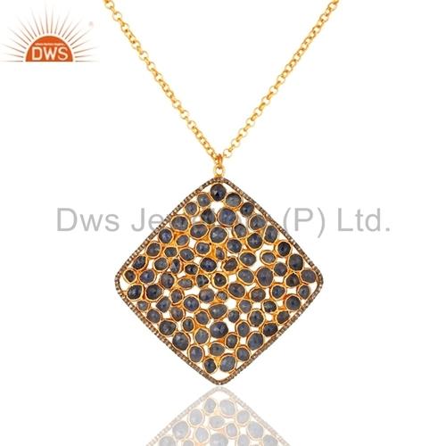 Blue Sapphire 18K Gold On Sterling Silver Pave Diamond Pendant
