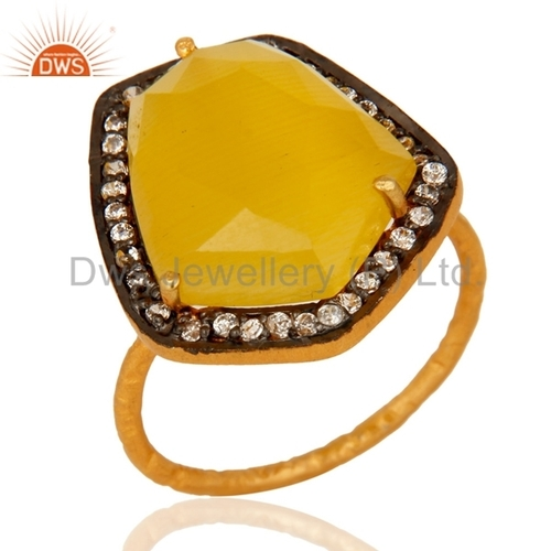 Yellow Moonstone 925 Silver Ring