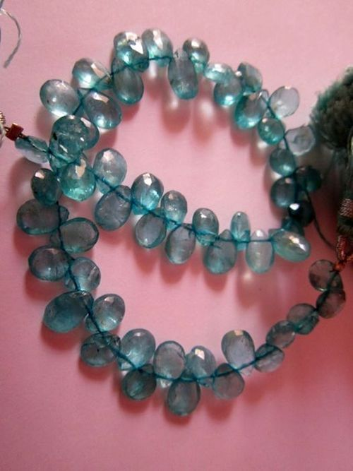 Apatite faceted almond 5x7mm to 6x8mm beads 7 inch
