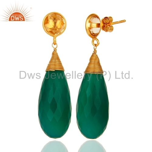 Citrine Green Onyx Gemstone Earring Jewelry
