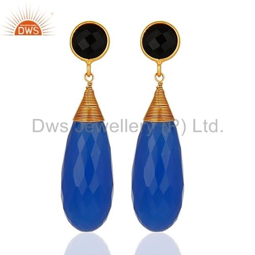 Blue Chalcedony Briolette Gemstone Earrings