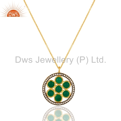 Green Onyx Gold Plated Sterling Silver Pendant