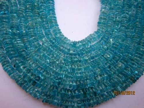 AAA+++ 7 INCH APATITE 4MM-5MM FLAT TYRE GEMSTONE BEADS