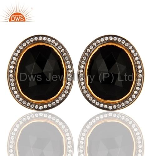 CZ Black Onyx Gemstone Stud Earring Jewelry