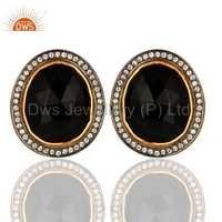 CZ Black Onyx Gemstone Stud Earring Jewelry
