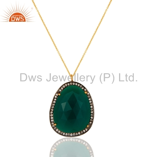 Natural Green Onyx Gemstone Silver Chain Pendant Jewelry