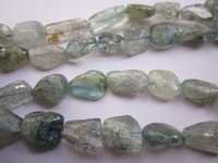 13 Inch Moss aquamarine 12x14mm to 10x15mm plain nuggets beads