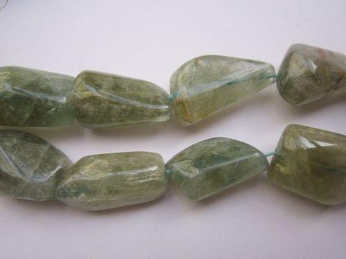 10 Inch Aquamarine 13x20mm to 15x20mm to 14x18mm plain nuggets beads
