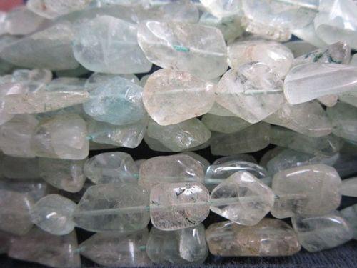 13 Inch Aquamarine 11x14mm to 11x17mm to 10x12mm plain nuggets beads