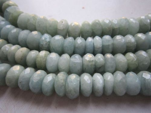 7 inch Aquamarine faceted roundell  beads gemstone 8mm-10mm