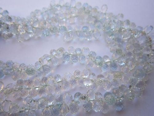 Aquamarine faceted drops beads one strand 7 inch 3.5x5mm 90 pcs.