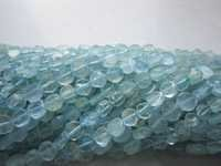 13 inch  aquamarine   plain coin beads one strand 8mm-10mm