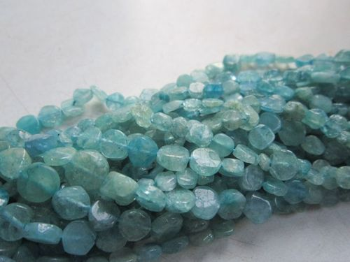 13 inch  aquamarine aqua & green plain coin beads one strand 8mm-10mm