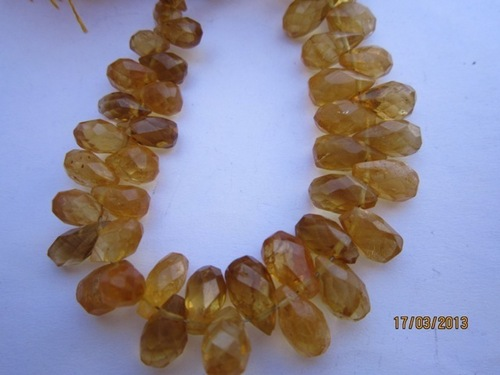 8 INCH CITRINE 5X10MM TO 6X10MM FACETED SIDE DRILL DROP BEADS GEMSTONE