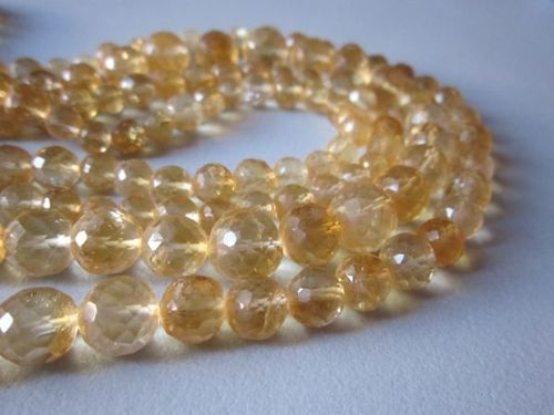 Citrine machine cut faceted round beads one strand7 inch 6mm-8mm