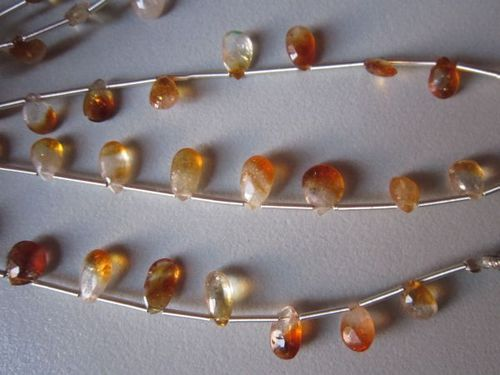 Bio Citrine faceted almond beads loose 10 piece 5x9mm to 6x10mm
