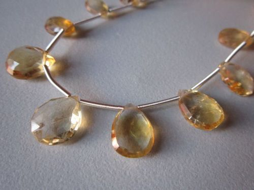 Citrine faceted almond beads loose 7 piece 9x13mm