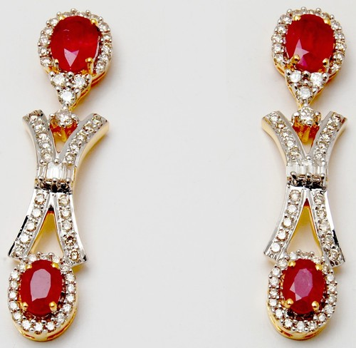 Oval Ruby Gemstone Drop Earring