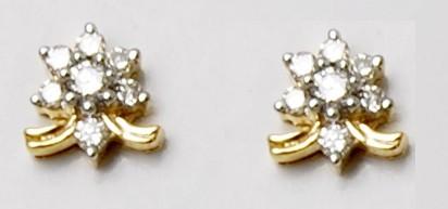 18K Yellow Gold Diamond Stud Earring