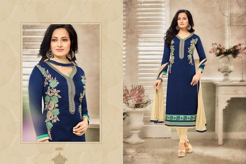 Designer Chanderi Straight Suit