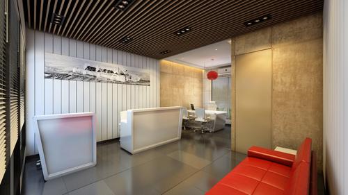 Designer Front Side  3 d Single Office View
