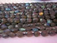 13 inch Labradorite 5x7mm to 6x8mm faceted top drill drop beads