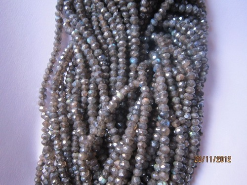 13 inch labradorite coated 3mm-4mm faceted rondell beads gemstone