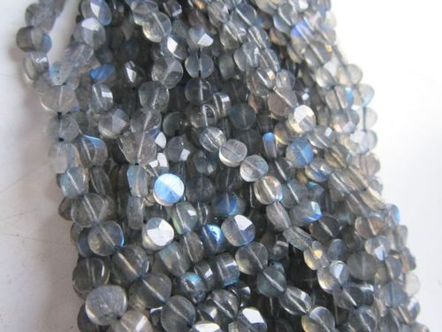 13 inch labradorite 5mm-6mm machine cut faceted coin beads gemstone