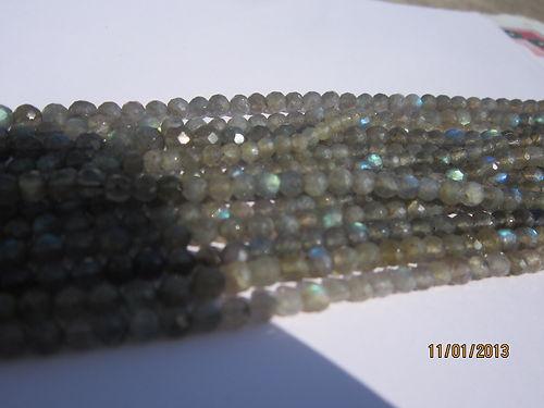 13 Inch labradorite 4mm-5mm Faceted Round beads gemstone