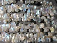 labradorite 5x10mm to 5x8mm to 5x11mm faceted side drill drop beads 8 inch