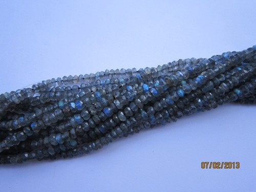 13 inch labradorite 3mm-4mm machine cut faceted roundell beads gemstone