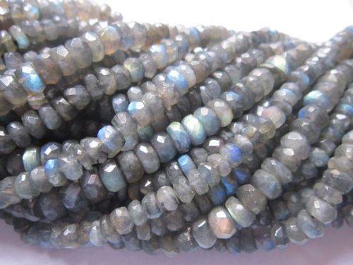 13 inch labradorite faceted 6-7mm roundell  beads one strand