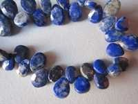7 inch lapis faceted almond beads gemstone one strand 7x9mm