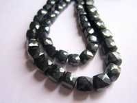 Black Onyx faceted Box 6mm-8mm 8 inch Beads Gemstone