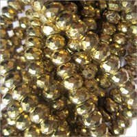 6mm-7mm Gold pyrite Faceted Roundell beads gemstone 8inch
