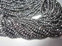 13 inch black diamond coated pyrite 4mm faceted rondell beads