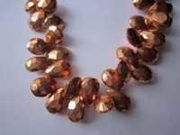 7x10mm Copper pyrite Faceted almond beads gemstone 8inch