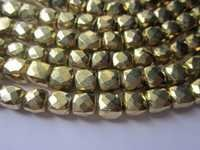 6mm-7mm Gold pyrite Faceted Box beads gemstone 8inch