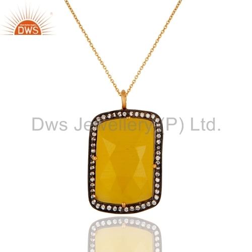 Silver Yellow Moonstone Pendant