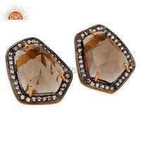 925 Silver Zircon Smoky Quartz Gemstone Earrings