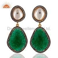 CZ Green Aventurine Gemstone Stud Earring Jewelry